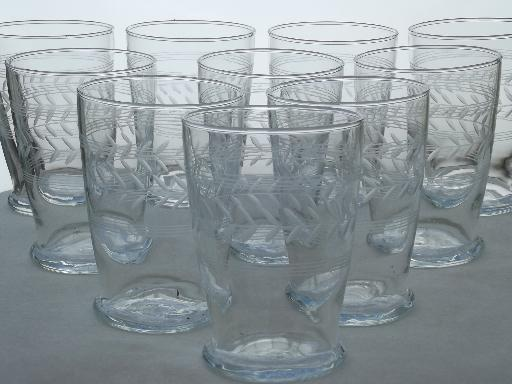 Vintage Etched Laurel Drinking Glasses Laurel Amp Band