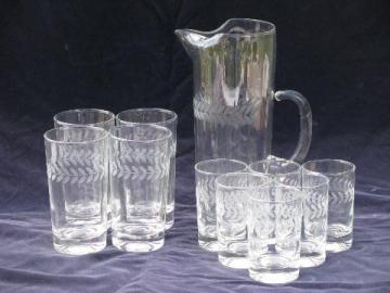 vintage etched laurel wreath pattern pitcher and glasses in two sizes