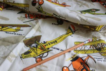 vintage fabric w/ biplanes early airplanes print, sturdy cotton duck fabric