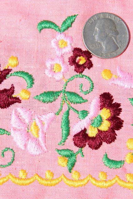 vintage fabric, embroidered border linen weave cotton, coral pink W/ folk art flowers embroidery