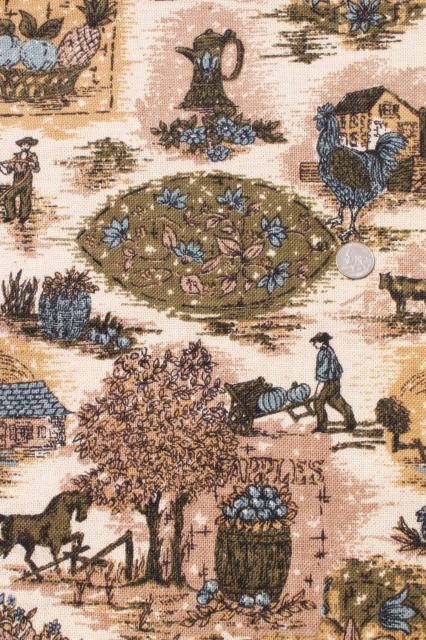 vintage fabric, french country scenes toile style print linen weave in blue, olive green, flax