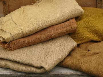 vintage fabric lot, 5 lbs assorted natural burlap / hessian fabrics