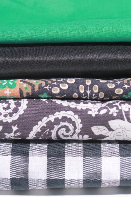 vintage fabric lot of craft sewing quilting fabrics - black & shades of green