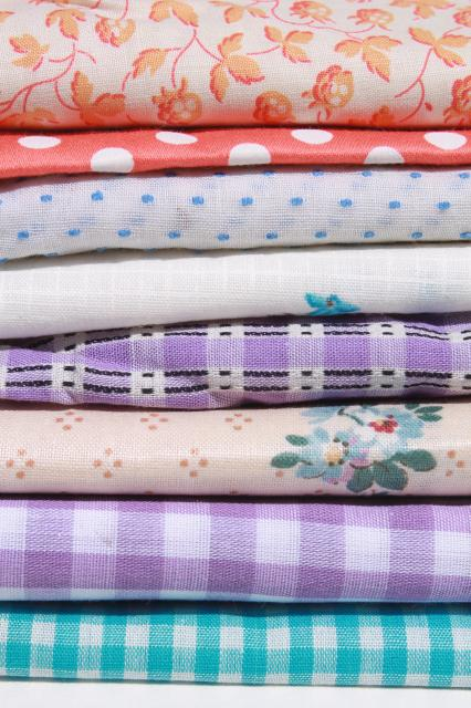 vintage fabric lot of craft sewing quilting fabrics - coral, lavender, aqua checks & prints