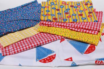 vintage fabric lot of craft sewing quilting fabrics - fun primary colors red, blue yellow