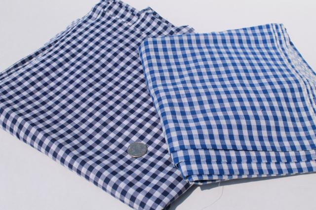 vintage fabric lot of craft sewing quilting fabrics - gingham checks red white blue