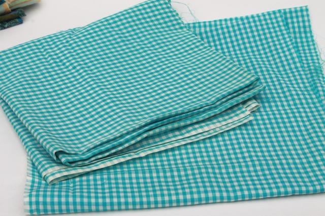 vintage fabric lot of craft sewing quilting fabrics - green, lavender, aqua checks & a few prints