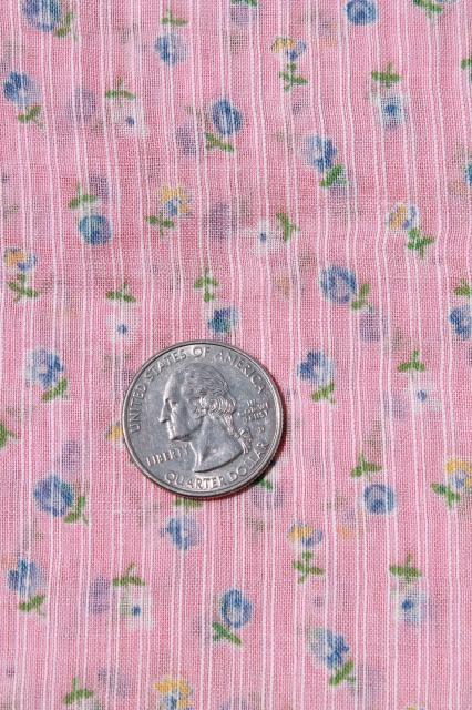 vintage fabric lot of craft sewing quilting fabrics - pink, blue, yellow lawn & prints