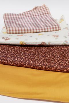 vintage fabric lot of craft sewing quilting fabrics - prairie bohemian calico & gingham