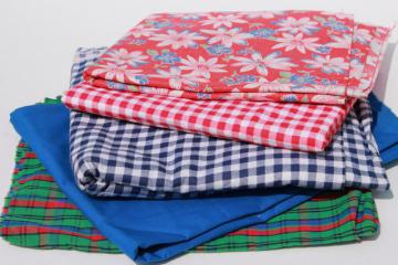 vintage fabric lot of craft sewing quilting fabrics - print cotton, gingham, plaid