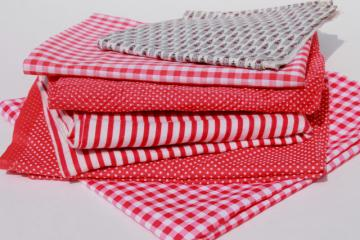 vintage fabric lot of craft sewing quilting fabrics - red stripes, dotted swiss, gingham