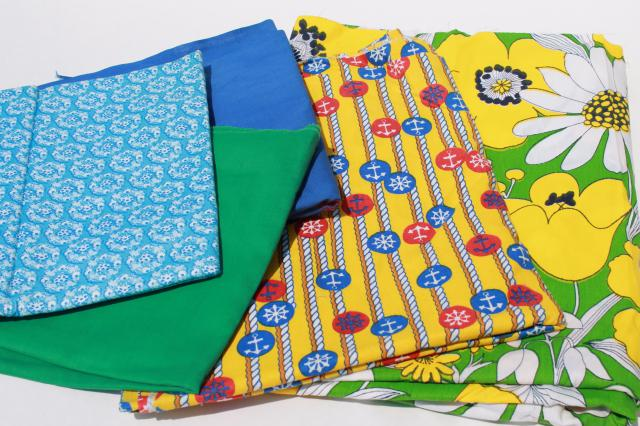 vintage fabric lot of craft sewing quilting fabrics - retro nautical & flower prints, bright colors
