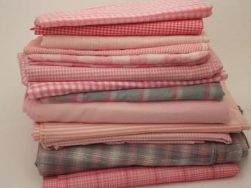 vintage fabric lot, retro pink & grey plaid, gingham, stripes