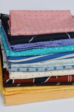 vintage fabric lot silky poly shirtings, lining fabrics - retro colors & prints!