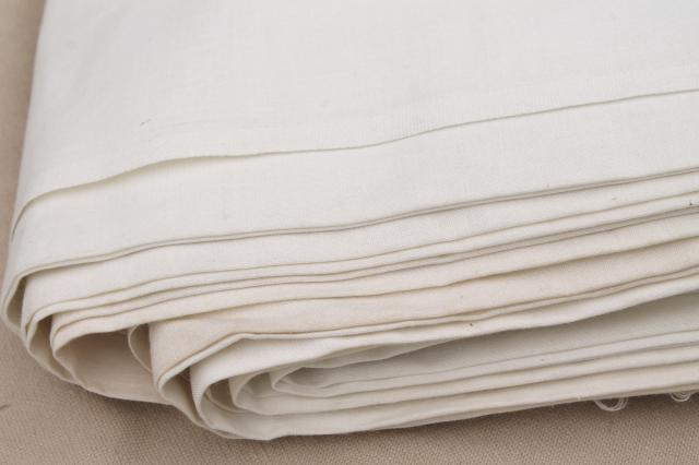 vintage fabric lot, unused white cotton fabrics, muslin