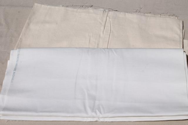 vintage fabric lot, unused white cotton fabrics, muslin, percale sheeting for linens etc.