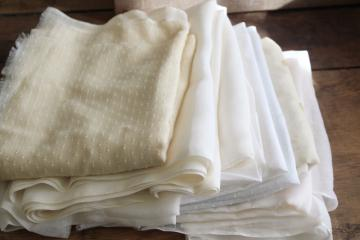 vintage fabric lot, white & ivory sheer cotton remnants, dimity, organdy, dotted swiss