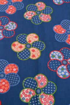 vintage fabric, medium heavy cotton, traditional indigo blue w/ Japanese style floral