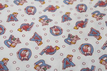 vintage fabric, novelty quilting weight cotton w/ baby print alphabet letters
