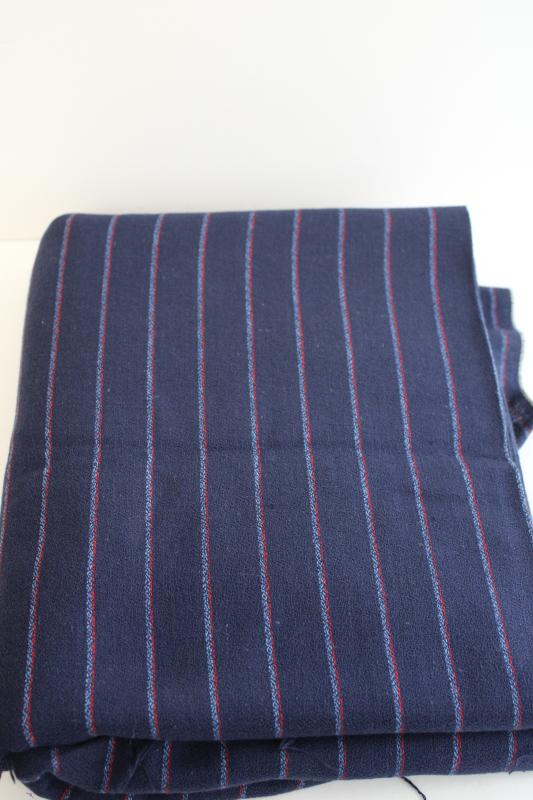 vintage fabric, rayon blend suiting menswear pinstripe red & blue on navy