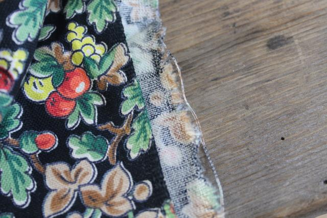 vintage fabric, sturdy cotton duck w/ red & yellow apples print on black