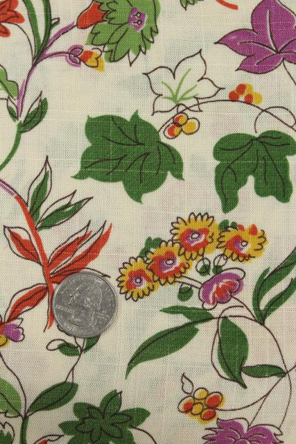 vintage fabric, wildflowers floral print linen weave cotton / rayon