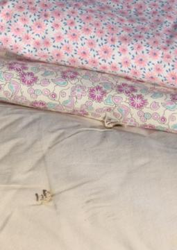 vintage faded floral print cotton duvet eiderdown comforter covers & plain old quilt