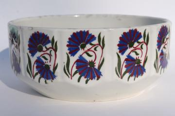 vintage faience pottery bowl w/ french blue cornflowers, early 20th century Czechoslovakia