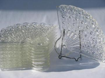 vintage fan pattern pressed glass snack plates, to hold punch cups