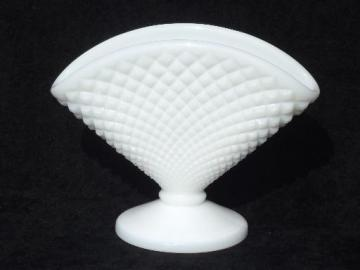 vintage fan vase, Westmoreland English hobnail pure white milk glass