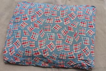 vintage farm country feather pillow, authentic old feed sack fabric red white blue