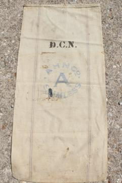 vintage farm country grubby primitive feed bag, heavy cotton grain sack fabric
