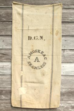 vintage farm country primitive heavy cotton grain sack, Amoskeag seamless striped feed bag