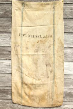 vintage farm country primitive heavy cotton grain sack, Amoskeag seamless striped feed bag