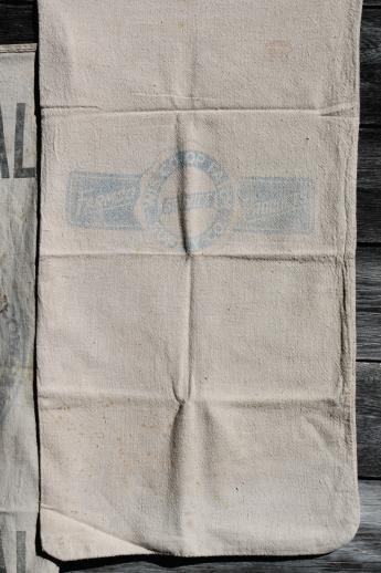 vintage farm feedsacks lot, heavy cotton homespun type fabric grain & seed sacks