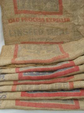 vintage farm primitive burlap feed bags w/ advertising graphics, lot 8 sacks