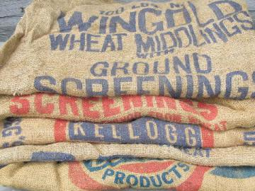 vintage farm primitive burlap feed grain bags w/ bright advertising graphics