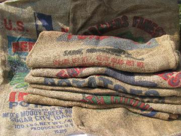 vintage farm primitive burlap potato bags w/ bright advertising graphics, 8 different sacks lot #2