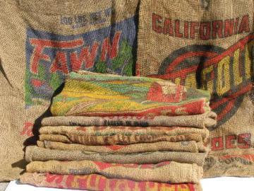 vintage farm primitive burlap potato bags w/ bright advertising graphics, lot of 10 sacks