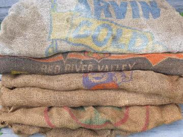 vintage farm primitive burlap potato bags w/ bright advertising graphics, lot of 6 sacks