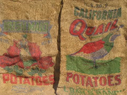 Vintage Farm Primitive Burlap Potato Bags W Bright
