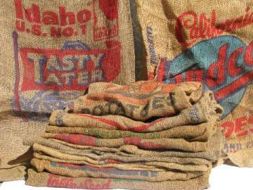 vintage farm primitive burlap potato bags w/ bright advertising graphics, lot of 9 sacks