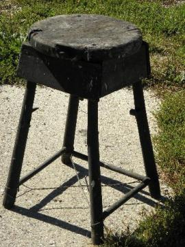 vintage farm primitive rustic wood stool / plant stand, worn old black paint
