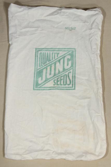 vintage farm seed advertising, print cotton feed sack fabric bag from Jung's Seeds