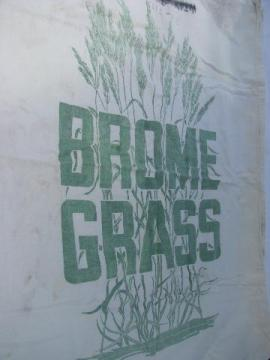 vintage farm seed bag Brome Grass graphics old cotton feed sack fabric