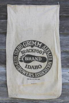 vintage farm seed cotton feedsack w/ Idaho Blackfoot advertising graphics