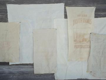 vintage farm seed & feed sack fabric w/ old advertising graphics