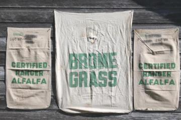 vintage farm seed feedsack lot, primitive cotton sacks printed alfalfa & grass