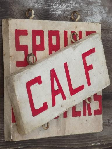 vintage farm signs, primitive painted wood board sign boards for chickens, calf