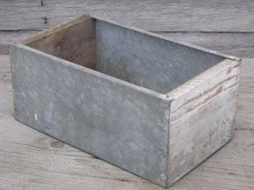 vintage farm tool box, primitive old painted wood crate w/ galvanized tin